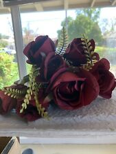 New Listing9pc Artificial Flowers Silk Maroon Rose Flowers Bridal Bouquets, Centerpieces F