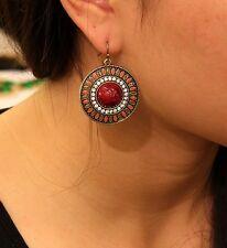 orecchini Etnico Tondo Boheme Rosso Turchese Multicolore Retrò EE 2