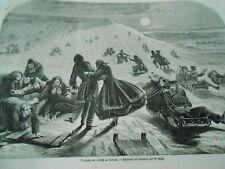 Gravure 1859 - Canada Descente en traineau sur la neige