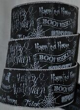 "Wired Ribbon~Happy Halloween Sayings~Boo~Spooky~Black~White~Web~Wreath~2.5""~Bow"