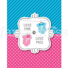 Baby Shower GENDER REVEAL Bow or Bow Tie Pack 8 Invitations Girl Boy NEW