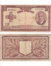 Billet banque MALTE MALTA 1 £ 1949 KING GEORGES VI état voir scan 336