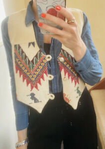 Vintage Tapestry Waist Coat Embroidered Small 1970
