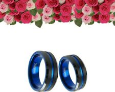 His And Her BLACK BLUE Tungsten 8mm 6mm Engagement Bridal Wedding band Ring Set