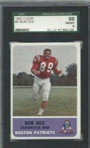 1962 Topps football card #8 Bob Dee, Boston Patriots graded SGC 88 NMMT 8