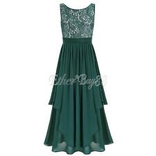 Women Sleeveless V back Chiffon Formal Party Cocktail Prom Gown Maxi Long Dress