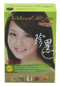Natural Mi Ya Herbal Colorant 3-1 Hair Dyeing Color Shampoo, Dark Brown