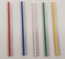 """DuPont male pinstrip - various colours - 0.1"""" 2.54mm pins - lot of 5 parts - UK"""