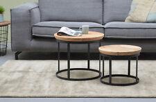 2er set sofá mesa redonda duncan mango de madera metal mesa auxiliar mesa de sofá