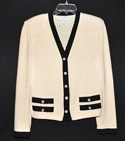 St John Marie Gray White with Black Accents Santana Knit Cardigan Sweater Size S