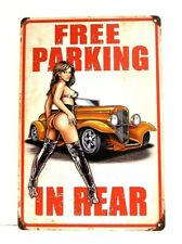 Free Parking in Rear Pinup Girl Tin Poster Sign Vintage Style Man Cave Garage