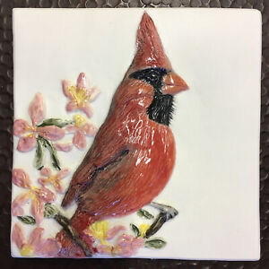 Cardinal Male Red Bird Bas-Relief Porcelain handmade Tile Sondra Alexander Art