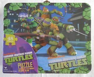 "Puzzle Lunch Box TEENAGE MUTANT NINJA TURTLES 48 Pieces Jigsaw Tin 15""x12.5"""