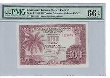EQUATORIAL GUINEA 100 Pesetas Guineanas  1969 Pick# 1 PMG: 66 EPQ GEM UNC. #1563