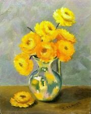 Vintage Still Life Oil Painting Vase of Yellow Flowers Strawflowers, Signed