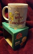 """Bnib Vintage 1997 Looney Tunes Tweety Coffee Mug """" I Wuv U Gwanny """""""