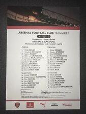 Arsenal v Blackpool Team Sheet 31st October 2018
