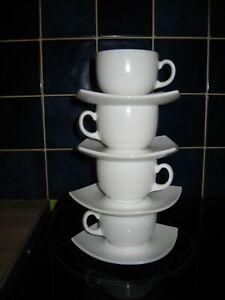 4 White glass Retro style, Quadrato, cups with square saucers, Luminarc France,