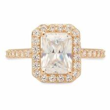2.07ct Emerald Cut Wedding Engagement Promise Bridal Halo Ring 14k Yellow Gold