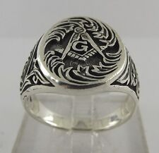 New Sterling Silver 925 Masonic Square & Compass Ring Mason Ring Size 13