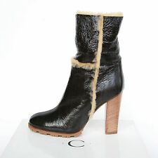 CASADEI $869 shearling fur brown patent leather Vikingo high heel boots 36.5 NEW