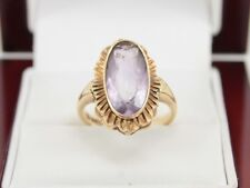 Amethyst Ring 9ct Gold Vintage Ladies Stunning 375 Size N D96