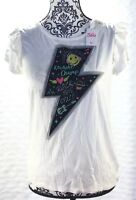 Justice Girls Ruffle Sleeve Karaoke Camp White Tee Shirt Size 16 NWT