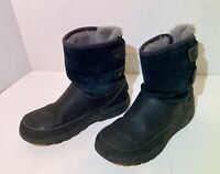 Ugg Waterproof Boots Fleece Ankle Lined Suede Top Girls Size 4 Black Fast Ship