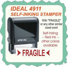 Fragile, Custom Made, Trodat Printy / Ideal Self Ink Rubber Stamp 4911 Red Ink