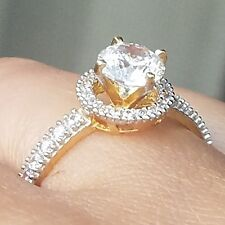 1.5 tcw 14k solid Yellow Gold Halo rounr cut Engagement Ring size 5 6 7 8 9
