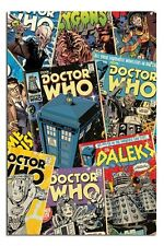 NEW Dr Doctor Who Retro Comic Book Cover Montage Poster - Tardis Dalek Cyberman