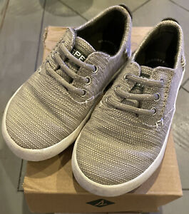Sperry Top Sider Bodie Jr Boys Tan Boat Shoes Size 7