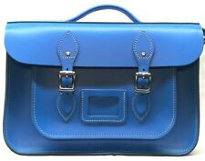 Leather Briefcase Satchel Vintage Look Magnetic Buckle Closure UK Made Genuine