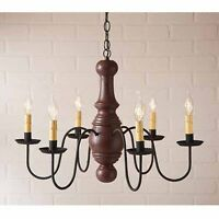 Maple Glenn 6 arm Wooden Chandelier in Red   Americana Primitive Country Light
