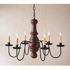Maple Glenn 6 arm Wooden Chandelier in Red | Americana Primitive Country Light