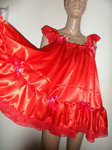 RED SATIN BABY DOLL NIGHTIE SATIN KNICKERS LACE TRIM SIZE LARGE