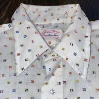 Vtg 50s 60s ARROW Getaway Dress Shirt Nautical Flag Sanforized Plus 2 MENS 16.5