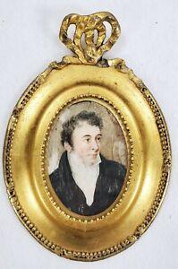 Antique Miniature Painting Man in Gold Frame Attr. CAROLINE SCHETKY RICHARDSON