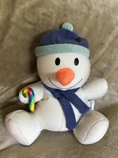 "MOSHI SNOWMAN-holding Candy Cane. 13"" Winter Holiday Microbead Micro Bead #4"