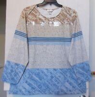 CJ Banks Plus Size 3X Script & Stripe print top, long sleeve, blue, tans NWT