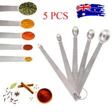 5pc Stainless Steel Mini Measuring Seasoning Dry and Liquid Ingredients Spoon AU