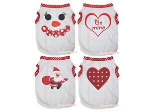 Polka Dots White Top T-Shirt Snowman Heart Pet Cat Dog Puppy One Piece Clothes