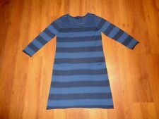 GUDRUN SJODEN ORGANIC COTTON KNITTED PASTEL BLUES STRIPED TUNIC DRESS-SIZE S