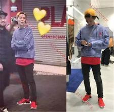 KPOP EXO Striped T-shirt Luhan Same Style Long Sleeve Tshirt Unisex Cotton Tee