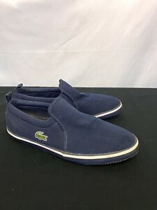 Lacoste Mens Loafer Maui Canvas Shoes Casual Slip On Toms Navy Blue 9