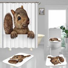 Squirrel HD Print Shower Curtain Bath Mat Toilet Cover Rug Bathroom Decor