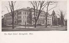 Antique POSTCARD c1905-07 High School SPRINGFIELD, MA MASS. Unused 15517