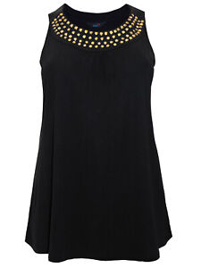 Black Jersey Sleeveless Blouse Top Size 14-30 Women's Gold Embellished Vest 477