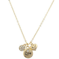 Lux Accessories Goldtone Live Heart Pave Rhinestone Inspirational Charm Necklace