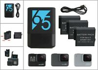 Dual Batteries Charger Port Type-C w/ Battery for Gopro Hero 5 6 7 Camera Black
